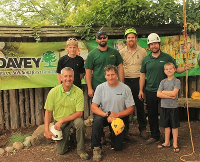 Davey employees (pictured) volunteered to host a kids' climb event at the Cleveland Botanical Garden in August.