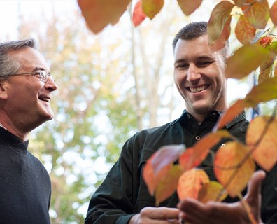 A professional Davey arborist points out potential tree risk and recommends proactive maintenance steps during a consultation.