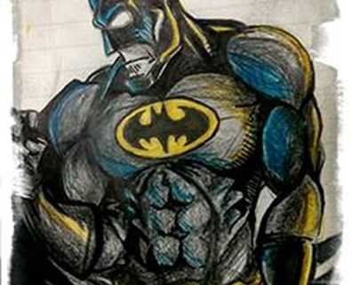 A drawing of Batman (pictured) by Davey Groundman Devin Kowalski, who presented a similar drawing to a young boy fascinated by his Batman shirt during a lunch break one day.