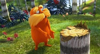 The Lorax speaking for the trees. Photo: Universal Pictures and Illumination Entertainment