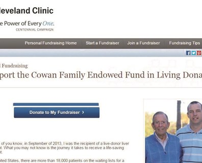 Want to join retired Davey chairman and chief executive officer Doug Cowan's crusade to promote live-donor liver transplants? Click on the link to the Cowan Family  Fund page at the end of this post. On his page, Cowan is pictured to the left of his donor, Ted Engle.