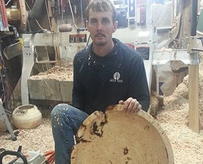 Davey employee Chris Worley spends several hours creating just one wood-turned piece, but he enjoys the hobby that helps him give downed trees a second life.