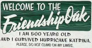 Friendship Oak tree sign