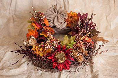 fall craft fall leaf wreath idea