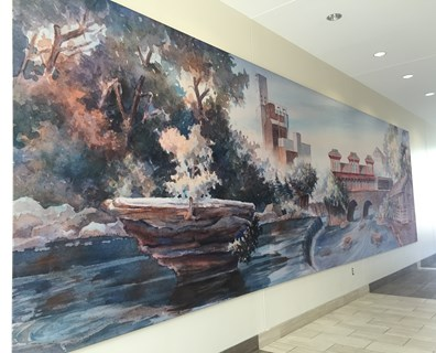 Cleveland-area artist and Kent State University adjunct professor Tim Myrick created the water-color illustration (pictured above), which depicts the changing scenes and history of the river as it runs south from Kent's northern limits through downtown and past John Brown Tannery Park, where the infamous abolitionist once operated a tannery business.